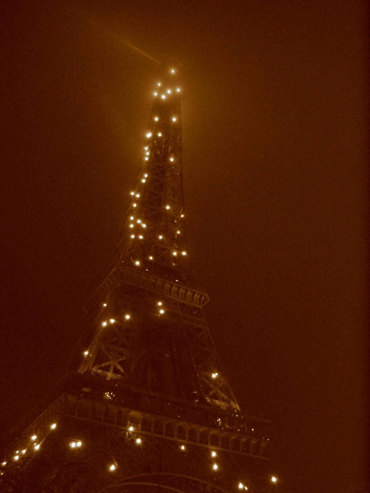 Tour Eiffel Lights Sepia