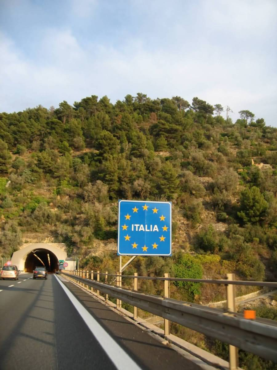 Italy Italia Sign on Highway